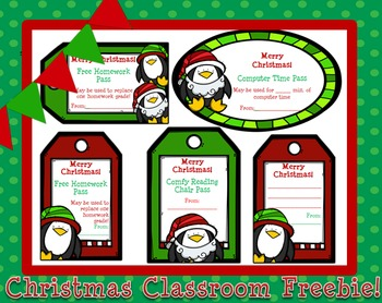 Christmas Classroom Freebie- Student Gift Passes