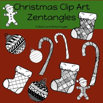 Christmas Clip Art: 11 Zentangle Black and White Images