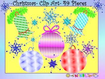 Christmas Ornaments - Bells - Snowflakes - Glitter Clip Art