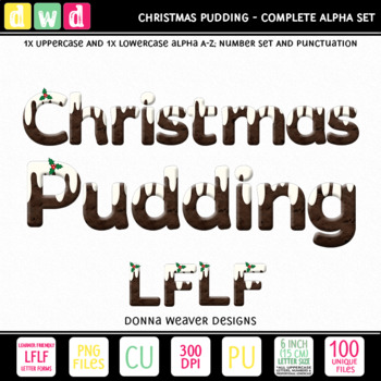 Christmas Clip Art Alphabet CHRISTMAS PUDDING LFLF Printable Letters Numbers