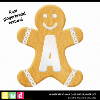 Christmas Clip Art Letters GINGERBREAD MAN Printable Alphabet Numbers