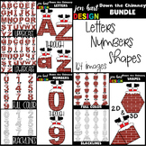 Christmas Clip Art BUNDLE- Down the Chimney Letters, Numbers, & Shapes
