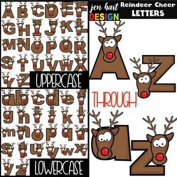 Christmas Clip Art BUNDLE- Reindeer Cheer Letters, Numbers, & Shapes