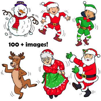 Christmas Clip Art BUNDLE | Santa, Reindeer, Elves, Gingerbread Man, Snowman