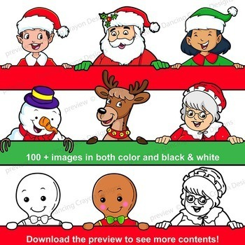 Christmas Clip Art BUNDLE | Santa, Reindeer, Elves, Gingerbread Man, Snowman