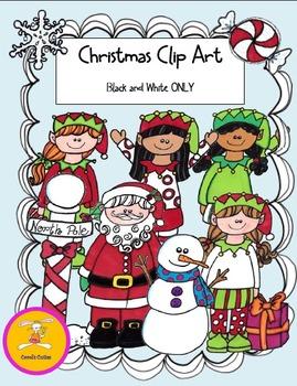 Christmas Clip Art -Elves in Black and White