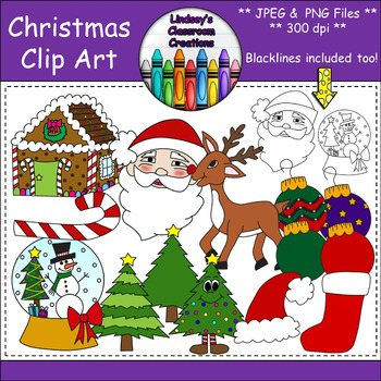 Christmas Clip Art Bundle -  Color and Black and White, 300dpi