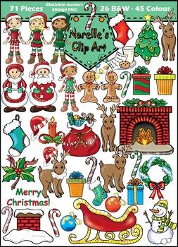 Christmas Clip Art Mega Pack. 71 Pieces. Colour and Blackline