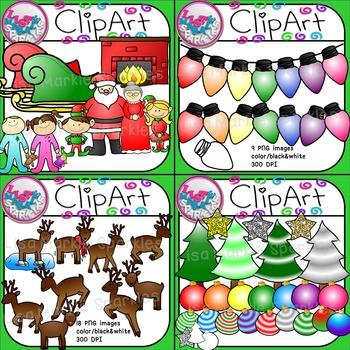 Christmas Clip Art Bundle with Santa Claus, Tree, Reindeer, and Lights