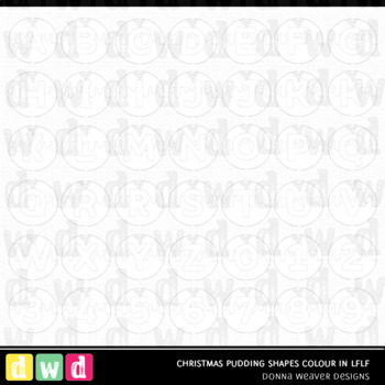 Christmas Clip Art CHRISTMAS PUDDING SHAPES COLOR IN LFLF Letters Numbers