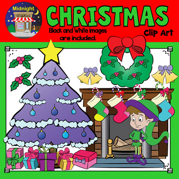 Christmas Clip Art - Christmas Bundle with Santa, Elves an