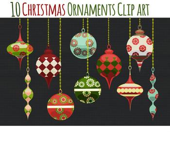Christmas Clip Art - Christmas Ornaments Clipart- Holiday Graphics - Ornaments