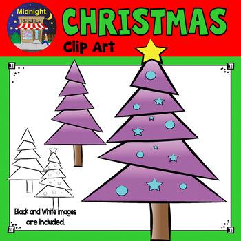 Christmas Clip Art - Christmas Tree - Purple