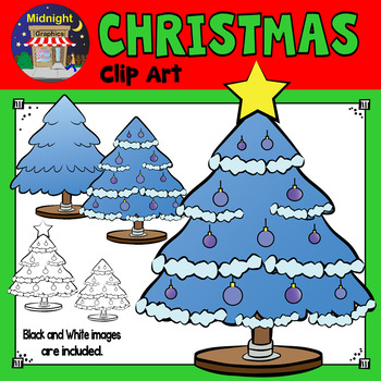 Christmas Clip Art - Christmas Trees - Blue