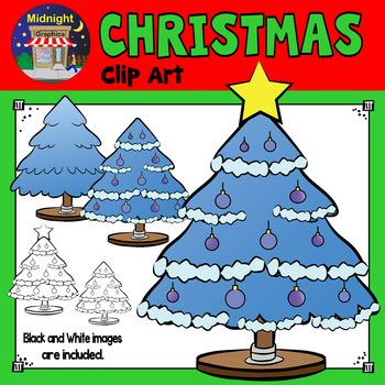 Christmas Clip Art - Christmas Trees - Blue