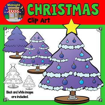 Christmas Clip Art - Christmas Trees - Purple