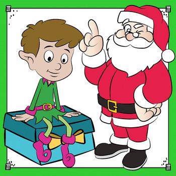 Christmas Clip Art - Christmas Bundle with Tree and Santa