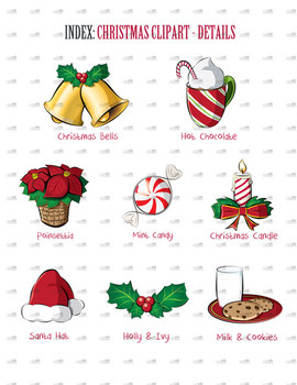 Christmas Clip Art, Clipart - Details Pack - Holiday Artwork - Christmas Fun
