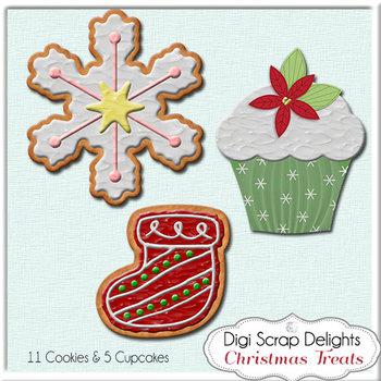 Christmas Clip Art, Digital Cookies & Cupcakes
