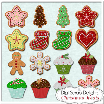 Christmas Clip Art, Digital Cookies & Cupcakes