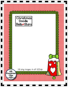 Christmas Clip Art - Doodle Bells and Stars with Frames and Papers