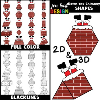 Christmas Clip Art -Down the Chimney 2D & 3D Shapes