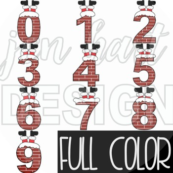 Christmas Clip Art - Down the Chimney Numbers