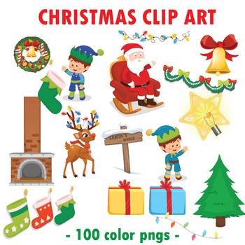 Christmas Clip Art Elements Mega Bundle | 100 Winter Clipa