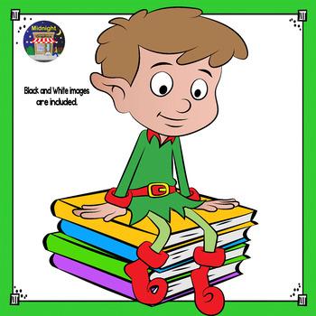 Christmas Clip Art - Elf {3 Elves} Sitting on Books