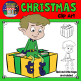 Christmas Clip Art - Elf {2 Elves} Sitting on Gifts