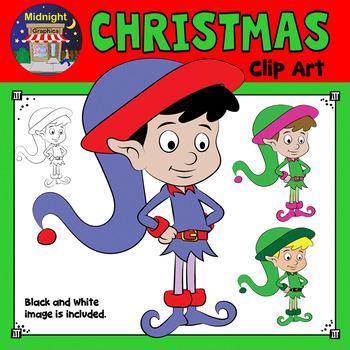 Christmas Clip Art - Elf {3 Elves} Standing