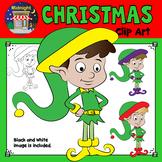 Christmas Clip Art - Elf {3 Elves} Standing - Yellow