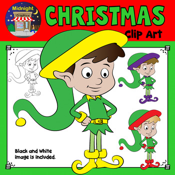 Christmas Clip Art - Elf {3 Elves} Standing - Yellow