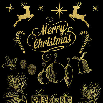 Christmas Clip Art, Gold X-Mas