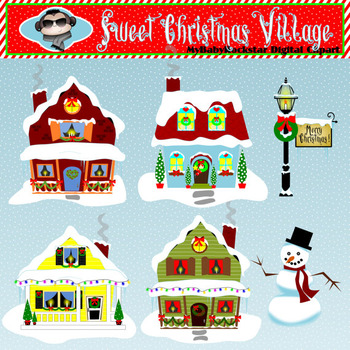 Christmas Clip Art - Holiday Village Clipart - Holiday Graphics of Cute Houses