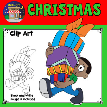 Christmas Clip Art - Kids with Gifts