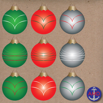 Christmas Clip Art Ornaments- Christmas Tree Decorations