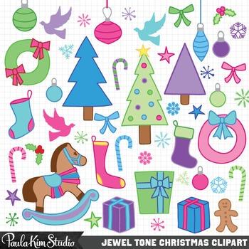 Jewel Tone Christmas Clip Art