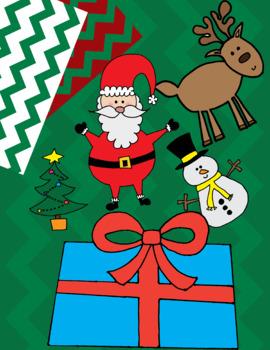 Christmas Clip Art & Paper (Santa, Christmas Tree, Reindeer, Snowman, Stockings)