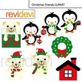 Christmas Clip Art / Polar Bears and Penguins / Commercial use clipart