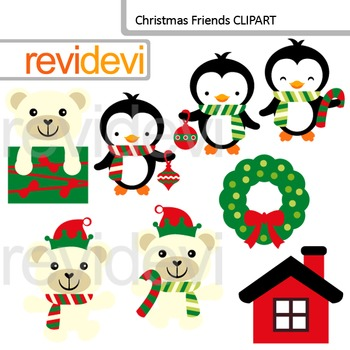 Christmas Clip Art / Polar Bears and Penguins / Commercial use clipart