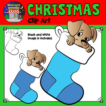 Christmas Clip Art - Puppy in Blue Stockings