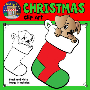 Christmas Clip Art - Puppy in Stocking