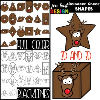 Christmas Clip Art -Reindeer Cheer 2D & 3D Shapes