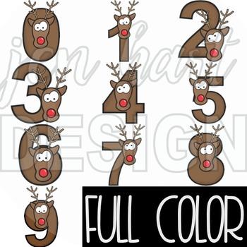 Christmas Clip Art -Reindeer Cheer Numbers