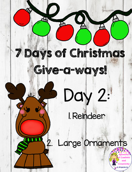 Christmas Clip Art-Reindeer and Large Ornaments