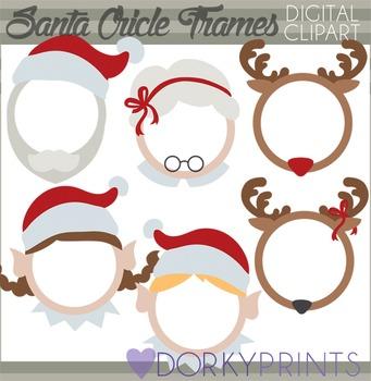 Christmas Clip Art - Santa Circle Frames