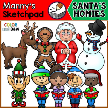 christmas clip art santa s homies by manny s sketchpad tpt