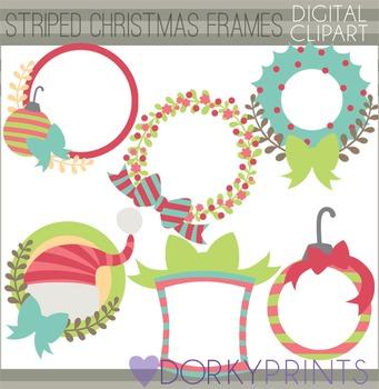 Christmas Clip Art - Striped Circle Frames