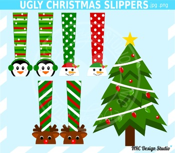 Christmas Clip Art - Ugly Christmas Slippers Clipart for Commercial Use